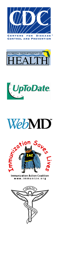 Centers for Disease Control, Florida Department of Health, Up to Date Patient Information, WebMD Patient Information, Immunization Action Coalition, Florida Spine and Wellness